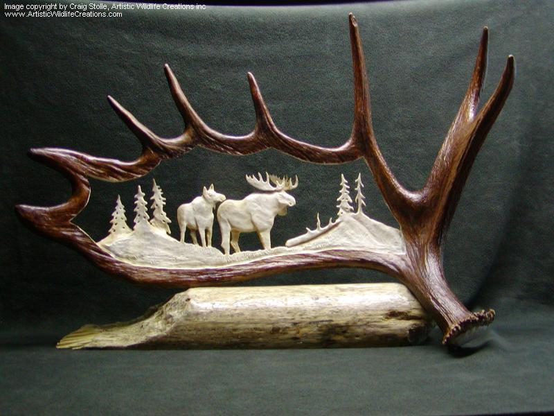 Antler carvings craig stolle award winning taxidermist